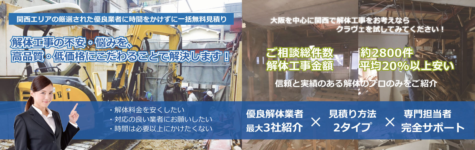 関西エリアの厳選された優良業者に時間をかけずに一括無料見積もり 解体工事の悩み・不安を「くらべる」ことで解決します!